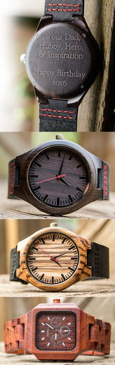 wooden watch for men, boyfriend, Father, Groom. 100% Real Natural Bamboo Wood Personalized/Engraved Wrist Watch, Ebony wood face with red second hand. Each Unique Watch is Handcrafted by a Professional Watchmaker. High Quality, Luxury Fashion and Stylish with Japanese Movement. The Wood color makes it Simple and Easy to Match with all your Outfits. Great for Casual or Business events. It comes with Nice Watch Box.
