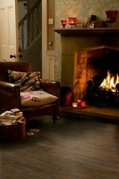 Cottage cozy by the fire. Cozy Fireplace, Decor, House, Cottage, Cottage Interiors, Home, Cozy Room, Fireplace, English Cottage