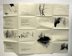 one sheet zine- with a hidden message int the inside pages. or big fold up zine Mises En Page Design Graphique, Poesia Visual, Art Zine, Accordion Book, Inspiration Art, Print Layout, Handmade Books, Grafik Design, Book Making