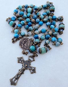 I handcraft heirloom quality gemstone rosaries in classical chain work. The rosary bead parts are vintage reproduction. Holy Rosary, Rosary Catholic, Catholic Prayers, Rosary Beads, Prayer Beads, My Chains Are Gone, Christian Symbols, Religious Jewelry, Simple Jewelry