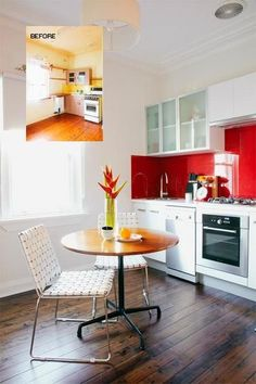 Apartment renovation:  Begin with the kitchen, the heart of your new home. You'll need to remove the old cabinets, but replace them with today's great flat-pack designs that are so stylish and perfect for your budget. Install them yourself, or have it done by a pro – then they'll all line up! And wherever you can, carve out extra storage space – even above the fridge – filling the kitchen with cupboards and drawer units, tall and small, and with practical bench space where you can.