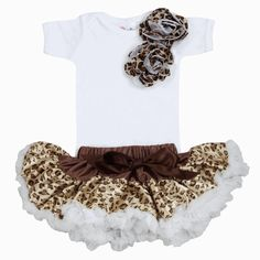 """Cheetah Baby Tutu SetThere's nothing that says, """"Look at me… I'm a cutie pie!"""" more than a darling tutu set! And Cheetah Baby Tutu Set has it going on! With Cheatah rosettes and plenty of girly fashion, your little ballerina will dance with delight! Price:$58.00Size:3-6 MONTHS6-12 MONTHS"""