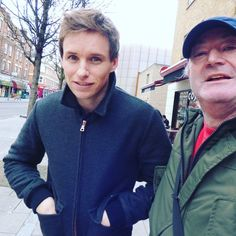 "bespokeredmayne: ""Fan adventures: Eddie Redmayne in London Wednesday outside the Young Vic Theatre, via Ian Stevens on Twitter ""me and Eddie Redmayne ( Fantastic beasts). lovely friendly guy"" """