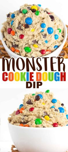 Monster Cookie Dough Dip – This monster cookie dough dip recipe is inspired by the monster cookie and whipped until light and airy. It's loaded with peanut butter, oatmeal, candies, chocolate chips. Serve with pretzels for a sweet and salty taste! Monster Cookie Dough, Cookie Dough Dip, Cookie Dough Recipes, Chocolate Chip Cookie Dough, Baking Recipes, Chocolate Chips, Dip Recipes, Dessert Dips, Long Nails