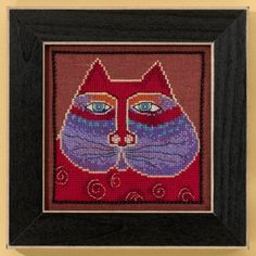 """LB305105 - Red Cat - Cats Collection (Linen) - Laurel Burch Kit Includes: Beads, 28ct Chocolate Raspberry Linen, floss, needles, chart and instructions.  6"""" x 6"""" Mill Hill frame GBFRM1 sold separately.   14ct Aida Kit: LB305115  Size: 5"""" x 5"""""""