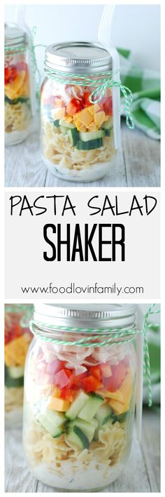 Forget sandwiches, these mason jar pasta salad shakers will shake up your lunch box routine. Filled with quality turkey and cheese, pasta, vegetables and a homemade ranch dressing these shakers are sure to please. #ad #BeyondTheSandwich @Walmart| http://www.foodlovinfamily.com/mason-jar-pasta-salad-shakers/