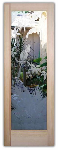 COCKATOO IN PARADISE 2D DOOR  - This beautiful Glass Door features custom art glass by Sans Soucie that is Semi-private, 2D Surface Etch Sandblasted.  The etching creates privacy while allowing light to come into the room, thru a STUNNING work of art!  Get pricing and customize your own complete entry or interior door in our FUN, EASY! … Online Door Designer!