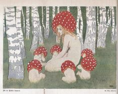 Mother Mushroom and her children (circa 1900) by Polish artist, Edward Okuń (1872-1945).