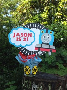 Personalized Thomas the Train/ tank engine birthday centerpiece decoration.