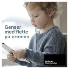 Genser med flette på ermene - Baby 0-1 år - Materialpakker - Design by Marte Helgetun