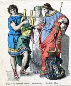 Costumes of Winner at the Olympic Games, Greek Bacchus priest and Greek King. Ancient greece clothing.