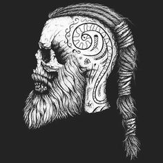 Drawing inspired by popular Vikings TV show character Ragner Lodbrok. Viking Skull, Tatto Viking, Viking Head, Viking Art, Viking Tattoo Symbols, Viking Tattoo Sleeve, Dream Tattoos, Badass Tattoos, Body Art Tattoos