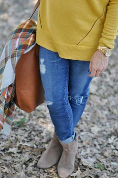 Fall Fashion - love these Fall colors - Caslon Detail Button Back Tunic Sweater | Steve Madden booties | ModCloth plaid fall scarf