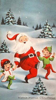 vintage santa card - Google Search