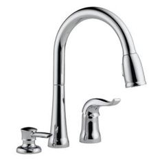 Delta Kate Single-Handle Pull-Down Sprayer Kitchen Faucet with MagnaTite Docking and Soap Dispenser in Chrome - The Home Depot White Kitchen Cart, Grey Kitchen Island, Kitchen Island With Seating, Single Bowl Kitchen Sink, Kitchen And Bath, Bar Faucets, Delta Faucets, Kitchen Faucets, Faucet Handles