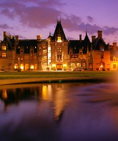 Biltmore House in Asheville at sunset. Tour the estate, gardens and winery. Insider's Guide: http://www.romanticasheville.com/biltmore.html