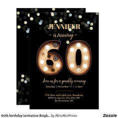 60th birthday invitation Bright Lights Western Invitations, 60th Birthday Party, Printable Birthday Invitations, Custom Invitations, Party Lights, Menu Cards, Create Your Own Invitations, Bright Lights, Event Planning