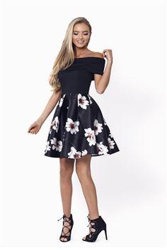 237e9416d7ed Sistaglam Fabian Black Bardot Skater Dress £75.00 This elegant prom dress  features a lace bardot
