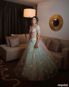 These Light Colored Bridal Lehengas Will Make You Ditch Reds & Pinks! New Designer Dresses, Indian Designer Outfits, Designer Wear, Bridal Looks, Bridal Style, Summer Wedding Outfits, Summer Weddings, Wedding Dress, Indian Bridal Wear