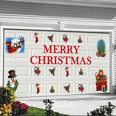 merry christmas garage door decal decorations merry christmas christmas time garage doors garage - Garage Christmas Decorations