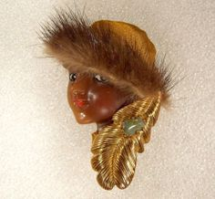 Lady Head Woman Face Porcelain Look Resin Pin Brooch Ethnic Mink Glamour, Head Pins, Woman Face, Lady, Brooch Pin, Polymer Clay, Porcelain, Mink, Ethnic