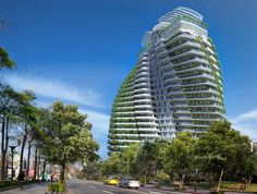 Rendering of Tao Zhu Yin Yuan, a sustainable apartment tower in Taipei