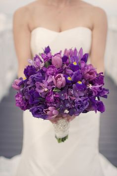 [bride. love the colors, would like a little more rounded structure] Purple Wedding Bouquet by Floral Artistry