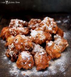 Enjoy this gluten free oliebollen recipe! Oliebollen is a Dutch New Year's treat that is basically a doughnut (only better, easier, and you should make it)! Gluten Free Desserts, Gluten Free Recipes, Delicious Desserts, Fried Doughnut Recipe, Dutch Recipes, Meal Recipes, Baking Recipes, Food Names, Bakken