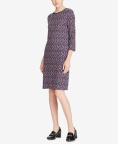 Lauren Ralph Lauren Slim-Fit Geo-Print Dress - Navy XXL