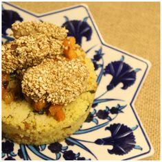 curry vegetables cows-cous with chicken with honey and sesame seeds