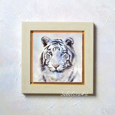 White Tiger Tiger Painting Hand Painted Ceramic Tile Wall Art Black and White paintings original Animal Painting Tiger Art Eye of the Tiger
