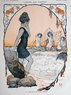 """secretlesbians:  """" brudesworld:  """" The Call of the Sirens by Burrel, c.1915  """"  do it, go into the gay ocean and be free  """""""