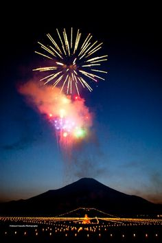 Mt. Fuji and firework