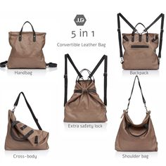 5 ways convertible leather bag, can make your morning very confusing, today is cross body/ backpack/ shoulder or handbag?!   one thing is for sure, you will NOT stop patting it!  have a look enjoy coupon code - 15OFFEXTRA  www.etsy.com/shop/JUDtlv