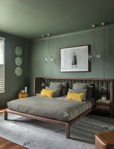 51 Green Bedrooms With Tips And Accessories To Help You Design Yours 3 Main Benefits of Having a Modern Bedroom # Desig interesting bedroom design with wood in the interior design A house with a view – Master Bedroom Design & Guest Bedroom Design – … Green Bedroom Design, Sage Green Bedroom, Green Rooms, Master Bedroom Design, Bedroom Colors, Modern Bedroom, Contemporary Bedroom, Calm Bedroom, Green Interior Design