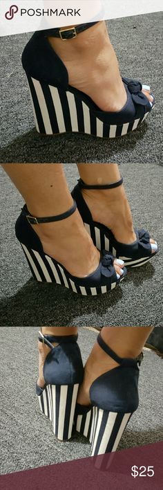 "⛵ Nautical Wedge Heels ⛵ Navy Blue and White stripe Canvas material wedge heels with ankle strap  BRAND NEW!! #NeverWorn  Sorry ( No Box )  Prices are ""ALWAYS"" negotiable, Make me an offer ?? Jessica Simpson Shoes Wedges"