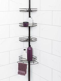 With a stylish design and plentiful shelving, the Oil Rubbed Bronze Tub and Shower Pole Caddy is the perfect storage solution for inside any bath tub or shower. The sturdy, rust-resistant tension pole adjusts to fit in any shower up to Shower Pole, Bathtub Shower, Bath Tub, White Bathroom Storage, Bathroom Caddy, Bathroom Organization, Corner Shower Caddy, Tropical Bathroom, Shampoo Bottles