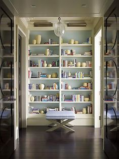 Airy blue-backed bookcase. (Sorry there's no source link — I had this image bookmarked directly on my computer— but it's from one of the portfolio galleries on srgambrel.com.)