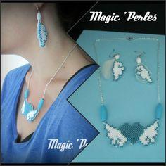 """Parure les """"Ailes de l'Amour"""" bleu et blanc : Parure par magic-perles"""