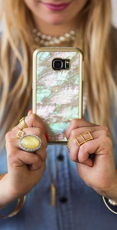 Transform your Samsung Galaxy S6 into a fashion statement with the Milk & Honey Mother of Pearl Cover. It's the perfect case if you value both fashion and function. No more worrying about protecting your S6 from daily wear and tear, because this case has a form-fitting design and sleek finish to keep it protected all day long. When it comes to looks, the genuine Mother of Pearl finish makes this case the ultimate accessory to go with any outfit. #samsung galaxy s6 case, #diy samsung galaxy…