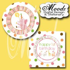 SWEET SAFARI Pink / Birthday, Baby Shower, Party / - 2 inch Square Digital Collage Sheet - cupcake toppers, stickers, scrapbooking, etc.
