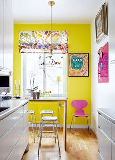 Whimsical - kitchen - colorful - yellow - pink - white