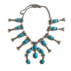 Large Faux Turquoise Squash Blossom Necklace by MyVintageJewels