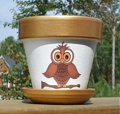 Items similar to Four Inch Owl Flower Pot, Terra Cotta on Etsy Painted Plant Pots, Terracotta Flower Pots, Painted Flower Pots, Clay Flower Pots, Flower Pot Crafts, Clay Pots, Clay Pot Projects, Clay Pot Crafts, Flower Pot People