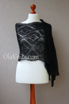 black lace stole elegant wrap summer scarf by OlaKnits on Etsy