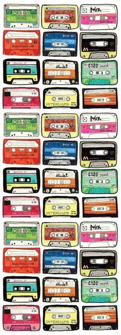 Illustrations Cassettes by Lisa Lisberg Refstrup Retro, Poster S, Grafik Design, Oeuvre D'art, Pattern Wallpaper, Illustrations Posters, Design Art, Pop Art, Print Patterns