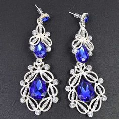 Big Long Crystal Drop Earrings Vintage Flower Bohemian Style Fine Jewelry Wedding Accessories
