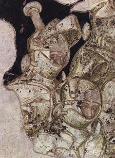 """Pisanello  Arthurian chivalric cycle: warriors, detail of fresco.        In the """"conspiracy"""" that surrounds the saga of the Graal, the cycles of frescoes painted by Pisanello and commissioned by Ludovico Gonzaga in about 1440, merit respect. Firstly, the work was unfinished. Then it was partially, if not substantially, destroyed: the collapse of the ceiling beams, then heavy marks scored with a pick-axe and covered by a coat of lime and a complete reconstruction of the Hall until it was…"""
