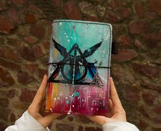 Deathly Hallows Art Harry Potter Gift Journal Travelers Notebook Hand Painted Leather Size - Sanati Factory Buy Now With Discount! Harry Potter Diary, Harry Potter Journal, Harry Potter Gifts, Harry Potter Fandom, Travelers Notebook, Handmade Journals, Personalized Journals, Custom Journals, Leather Sketchbook