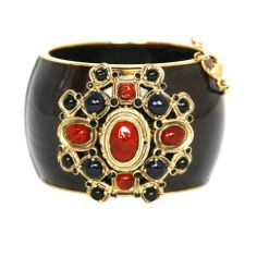 CHANEL Bronze Bracelet with Blue and Red Stones